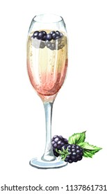 Champagne glass Blackberry Thyme Sparkler. Watercolor hand drawn illustration, isolated on white background