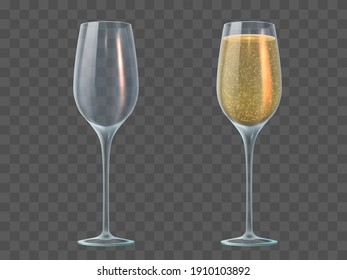 Champagne glass. Fill and empty transparent wineglasses with sparkling wine. Valentine day, christmas and wedding 3d realistic  mockup. Illustration champagne glass liquid drink