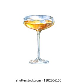 Champagne glass with wine. Watercolor illustration isolated on white background