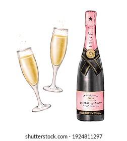 Champagne and glasses. Champagne bottle. Festive drink. Sparkling wine.