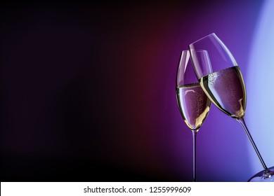 champagne glasses happy birthday clink glasses background 3d illustration
