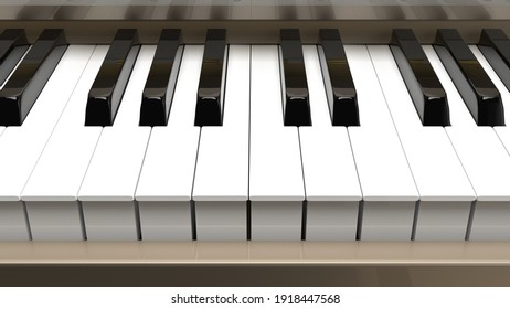 Champagne Gold Grand Piano under Black Background. 3D illustration. 3D high quality rendering. 3D CG.