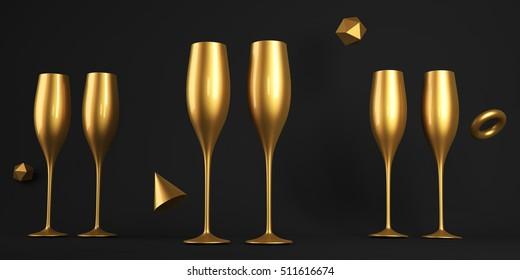 Champagne Golden Glass 3D rendering