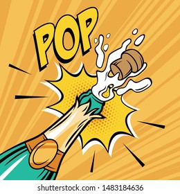 Champagne open bottle comic  illustration. Popping cork and explosion.