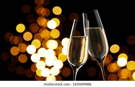 Champagne - two glasses with blurry lights in the back -3D illustration