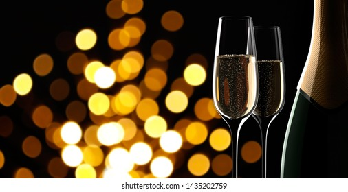 Champagne - two glasses and a bottle with blurry lights in the back -3D illustration