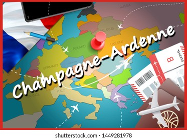 Champagne-Ardenne city travel and tourism destination concept. France flag and Champagne-Ardenne city on map. France travel concept map background. Tickets Planes and flights to Champagne-Ardenne