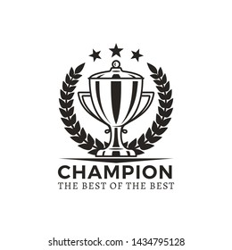 Champion best ever award poster with headline of prize cup and stars above as symbol excellence laurel leaves isolated on raster illustration