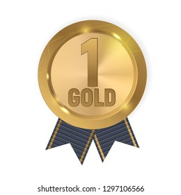 Champion Gold Medal with Blue Ribbon. Icon Sign of First Place Isolated on White Background.  Illustration