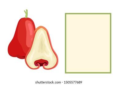 Champoo exotic juicy fruit whole and cut raster poster frame for text. Java apple, Semarang rose-apple and wax jambu samarangense. Tropical edible food