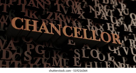 Chancellor - Wooden 3D rendered letters/message.  Can be used for an online banner ad or a print postcard.
