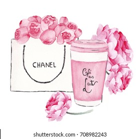 Chanel, coffee and roses watercolor