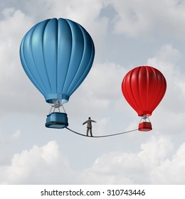Change challenge and caution business motivational concept as person walking on a tight rope high wire from one hot air balloon to another as taking a risk metaphor for changing position or career.