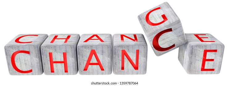 change chance cement dice  red text isolated in white background - 3d rendering