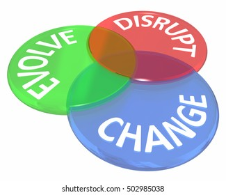 Change Evolve Disrupt Innovate New Idea Venn Circles 3d Illustration