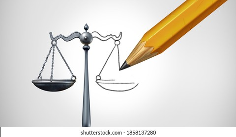 Change the law or ammendment and changing legislation or modify laws as a legal concept of justice modification as a 3D render.
