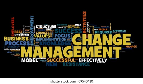 Change management concept in word cloud on black