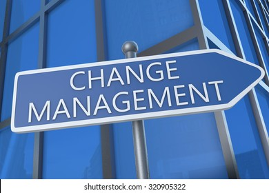 Change Management - illustration with street sign in front of office building.