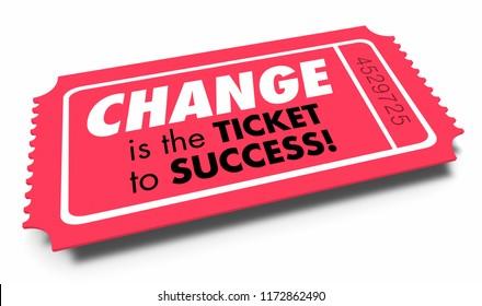 Change Ticket to Success Adapt Innovate Evolve 3d Illustration