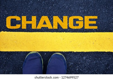Change word with yellow print, 3D rendering