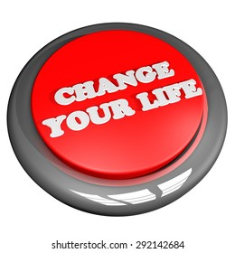 Change your life button, isolated over white, 3d render, square image