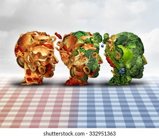 Changing diet healthy lifestyle achievement concept dieting progress as a lifestyle improvement symbol and evolving from unhealthy junk food to fresh fruits and vegetables shaped as a human head.
