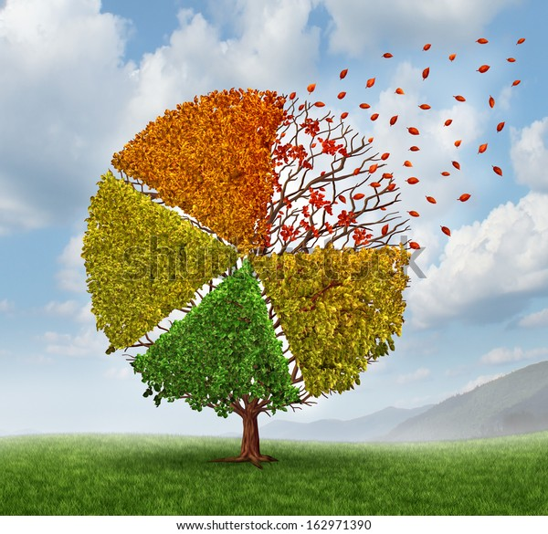 Changing market concept and losing business pie chart as an aging green tree with leaves turning yellow to red and falling off as a change metaphor in investing conditions as a financial graph chart.