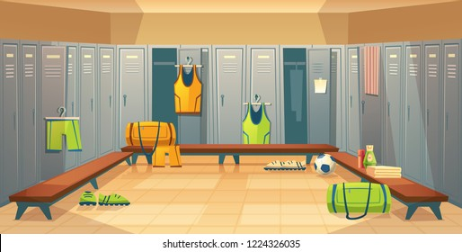changing room with lockers for football, basketball team for game background. Dressing of sports uniform, training equipment or athletic costume. Cartoon shelves in school gym