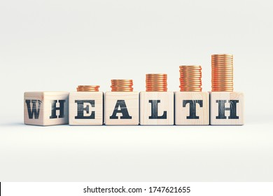 changing rotate wooden cube word wealth to health and coins stack step up growing growth value of life - life insurance and healthcare investment concept, smart life style. 3d render