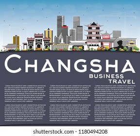 Changsha China City Skyline with Gray Buildings, Blue Sky and Copy Space. Business Travel and Tourism Concept with Modern Architecture. Changsha Cityscape with Landmarks.