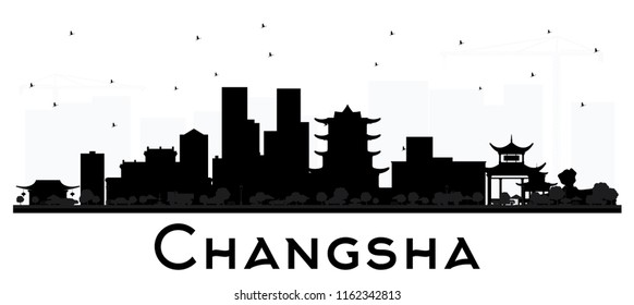 Changsha China City Skyline Silhouette with Black Buildings Isolated on White. Business Travel and Tourism Concept with Modern Architecture. Changsha Cityscape with Landmarks.