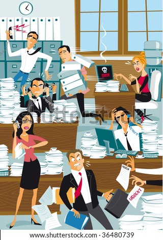 Chaos Office Stockillustration 36480739 Shutterstock