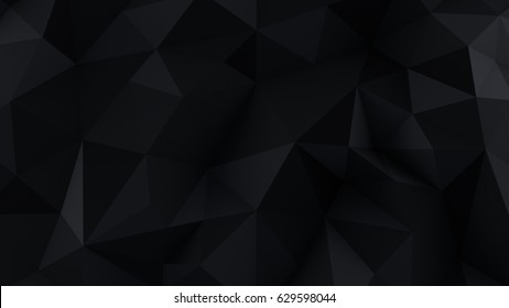 Chaotic black low poly surface. Computer generated abstract background. 3D render illustration