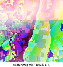 Chaotic colourful square and curve patterns mixture