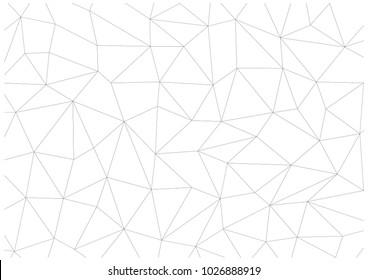 Chaotic grid of triangles and quadrilaterals. Modern background image. Black and white color.