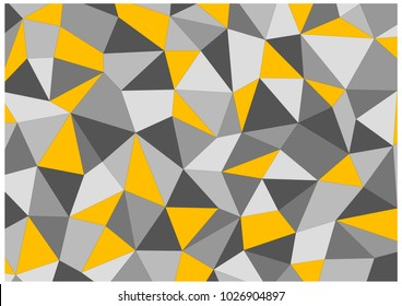 Chaotic grid of triangles and quadrilaterals. Modern background from different geometric figures in gradations of gray color and yellow figures.