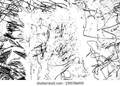 Chaotic lines, like the drawing of a small child. White background. Black lines, picture.
