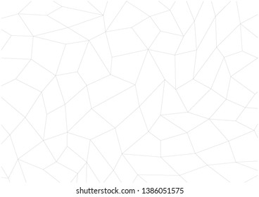 Chaotic, polygonal mesh of quadrangles. Modern background image. Black lines on a white background.