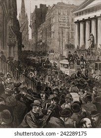 Chaotic scene on Wall Street, NYC on May 14, 1884. The Panic occurred during to a credit contraction by the largest New York banks.