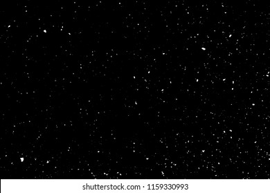 Chaotic white bokeh on a black background, light spots texture, abstraction, falling snow, starry sky, bright glare of light texture