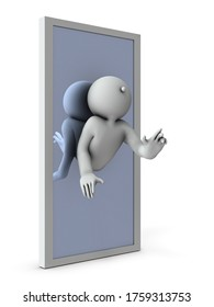 A character assimilated into a mirror. He is taken into the world of mirrors. White background. 3D illustration.