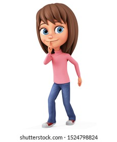 Character cartoon girl does not break the silence on white background. 3d rendering. Illustration for advertising.