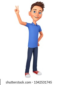 Character cartoon guy in a blue t-shirt shows world peace. 3d rendering. Illustration for advertising.