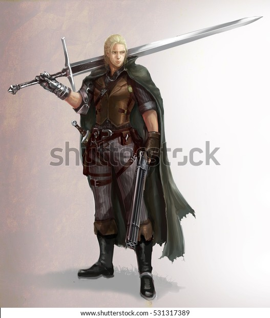Character Cartoon Illustration Male Fantasy Warrior Stock Illustration 531317389
