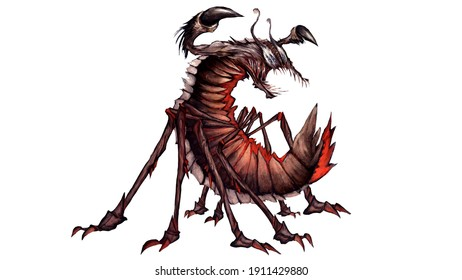character concept. an insect with many legs and a scorpion sting with open jaws. He has a chitinous shell and a glow emanates from his belly. it has a comb on its back. 2D illustration