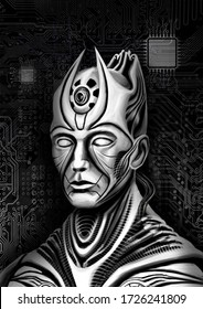 Character, cyborg, Pharaoh, ruler of an extraterrestrial race, in a biomechanical style, with small horns, a large eye, with mechanisms on the body, against the background of processors and chips.