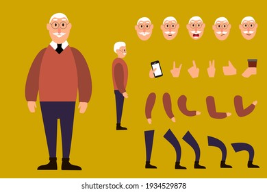 The character is an elderly man. A cartoon character. A character set for your animation.