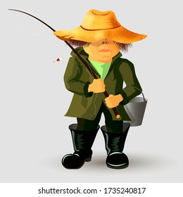 Character fisherman in a straw hat that holds a fishing rod on his shoulder, cartoon style