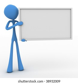 Character holding a blank sign with room for text to be added