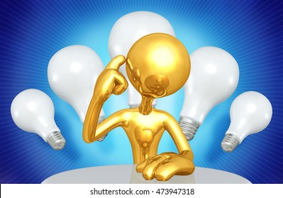 Character With Light Bulbs 3D Illustration